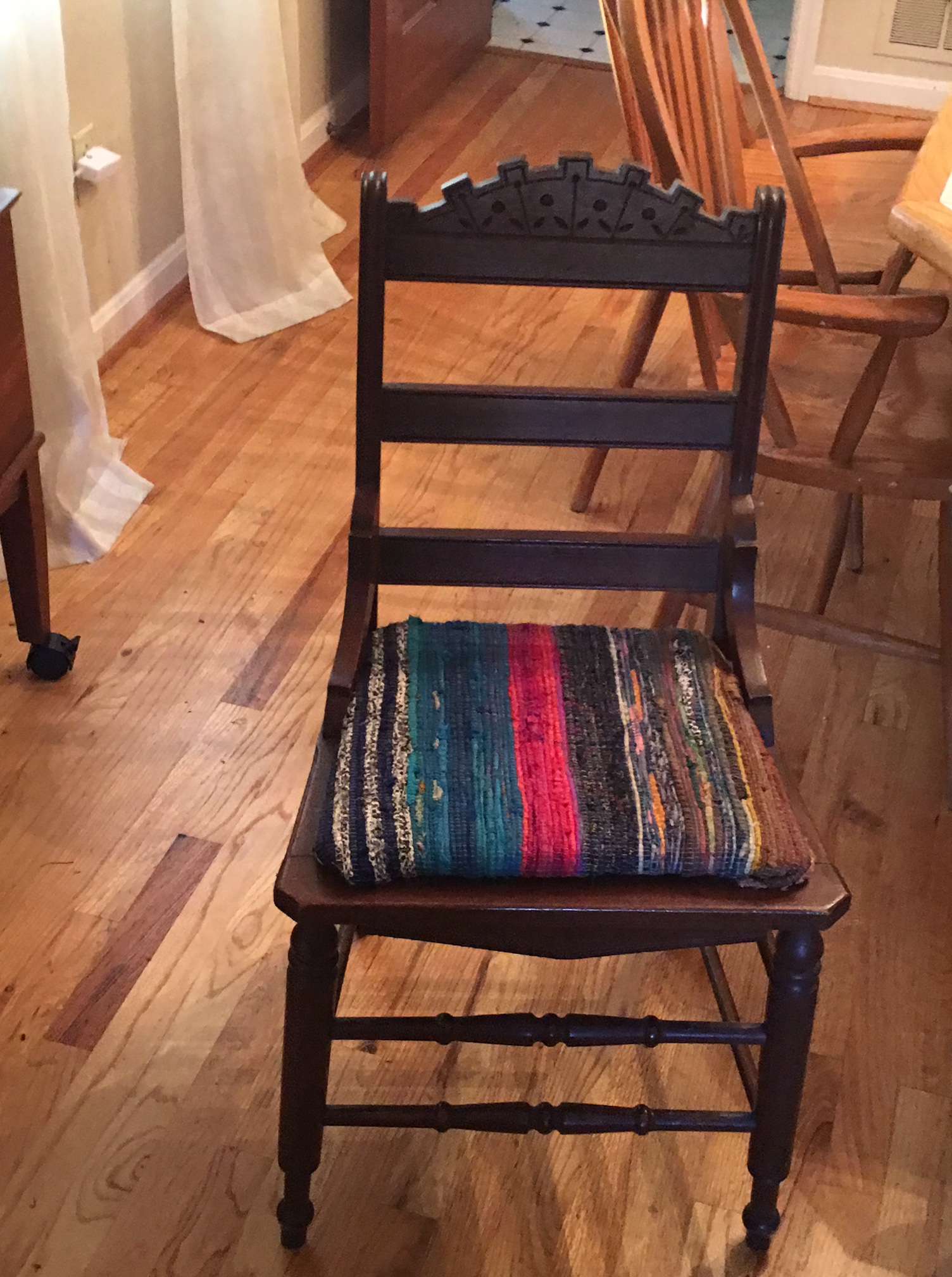 My Mother In Law Gave Us A Pair Of Chairs. Theyu0027re Eastlake And Quite  Lovely, But The Needlepoint Seats Were Not Our Style. I Was At World Market  Yesterday ...